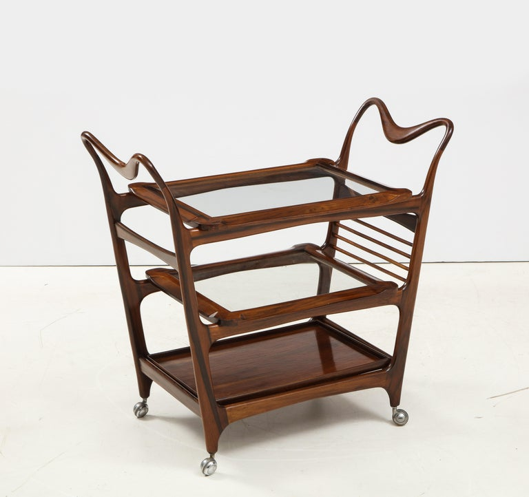 Varnished Mid-Century Modern Three-Tier Tea Cart by Teperman Manufacture, Brazil, 1950s For Sale
