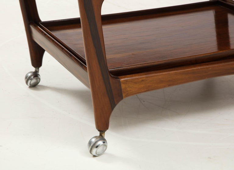 Mid-Century Modern Three-Tier Tea Cart by Teperman Manufacture, Brazil, 1950s In Good Condition For Sale In Miami, FL