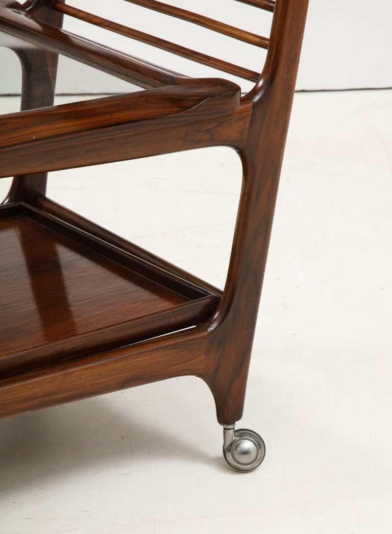 Mid-20th Century Mid-Century Modern Three-Tier Tea Cart by Teperman Manufacture, Brazil, 1950s For Sale