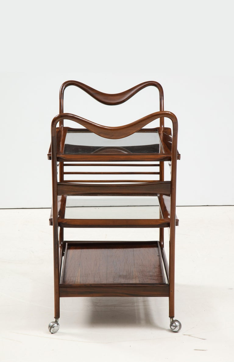 Mid-Century Modern Three-Tier Tea Cart by Teperman Manufacture, Brazil, 1950s For Sale 1