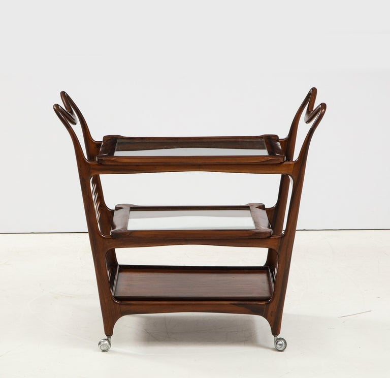 Mid-Century Modern Three-Tier Tea Cart by Teperman Manufacture, Brazil, 1950s For Sale 2