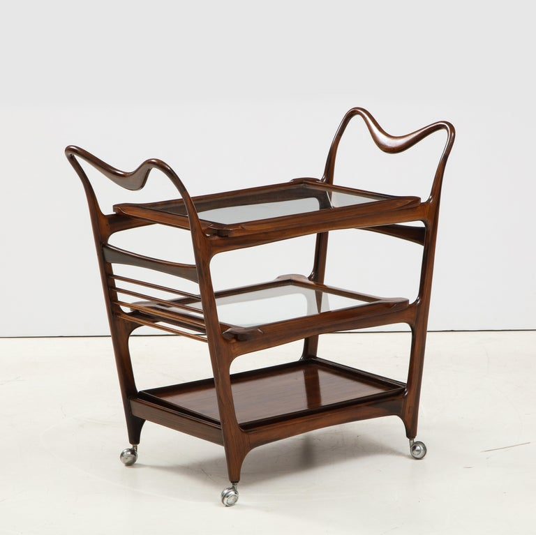 Mid-Century Modern Three-Tier Tea Cart by Teperman Manufacture, Brazil, 1950s For Sale 3