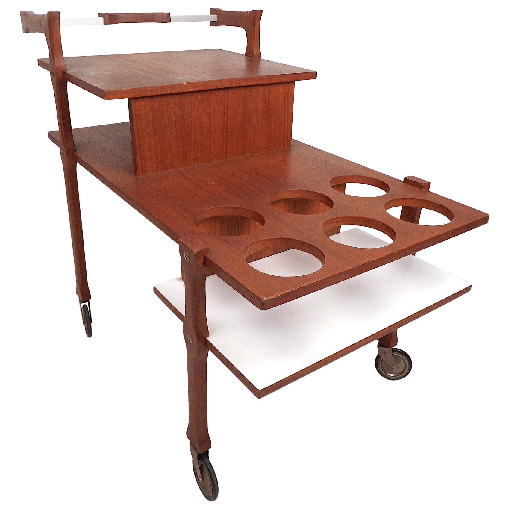 Mid-Century Modern Three-Tiered Bar Cart