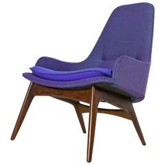 Mid-Century Modern Three-Tone Purple Blue Teal Tweed Tufted Walnut Base Armchair