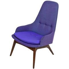 Mid-Century Modern Three-Tone Purple Blue Teal Tweed Tufted Walnut Base Armchair