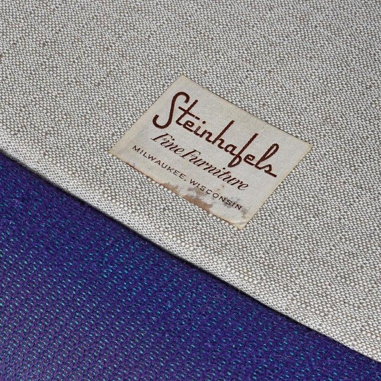Mid-20th Century Mid-Century Modern Three-Tone Purple Blue Teal Tweed Tufted Walnut Base Armchair For Sale