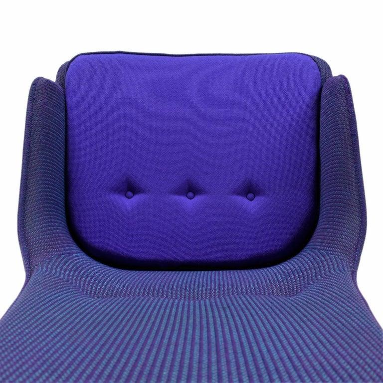 Mid-Century Modern Three-Tone Purple Blue Teal Tweed Tufted Walnut Base Armchair For Sale 2