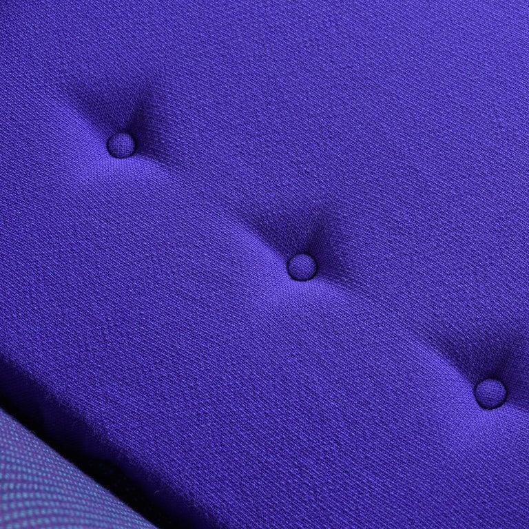 Mid-Century Modern Three-Tone Purple Blue Teal Tweed Tufted Walnut Base Armchair For Sale 3