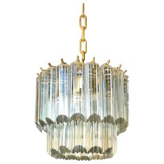 Mid-Century Modern Tiered Lucite Waterfall Chandelier Light Fixture, Italy
