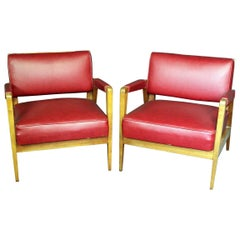 Mid-Century Modern Tiger Maple Lounge Chairs