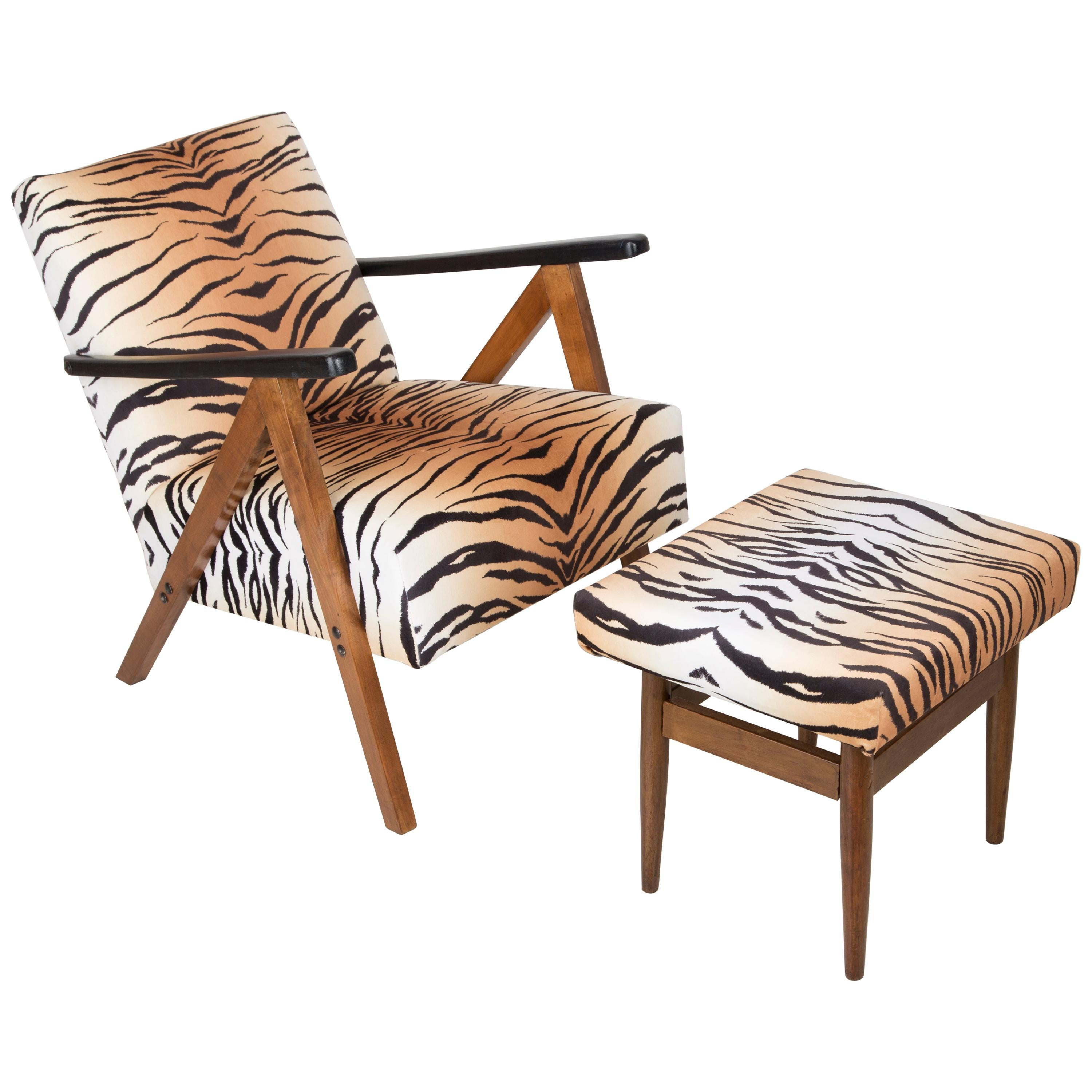 Mid-Century Modern Tiger Print Armchair and Stool, 1960s, Germany