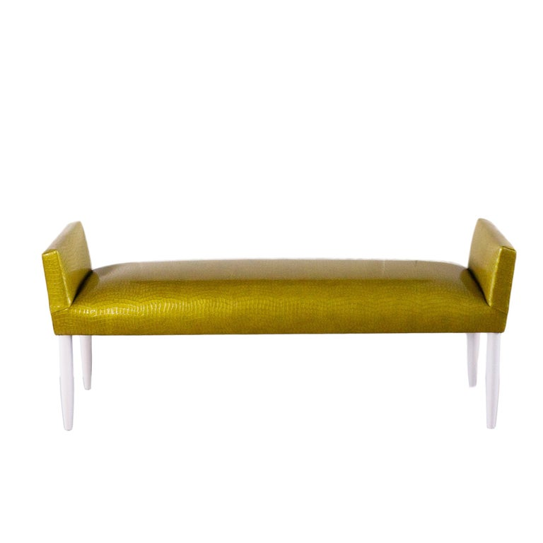 American Mid-Century Modern Tight Cushioned Accent Bench For Sale