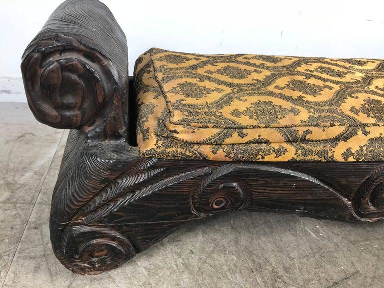 American Mid-Century Modern Tiki Bench, Witco Decor For Sale