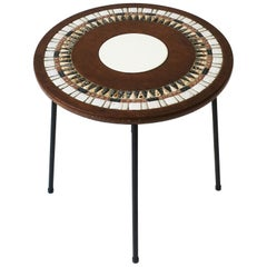 Mid-Century Modern Tile Mosaic Top Round Side Table
