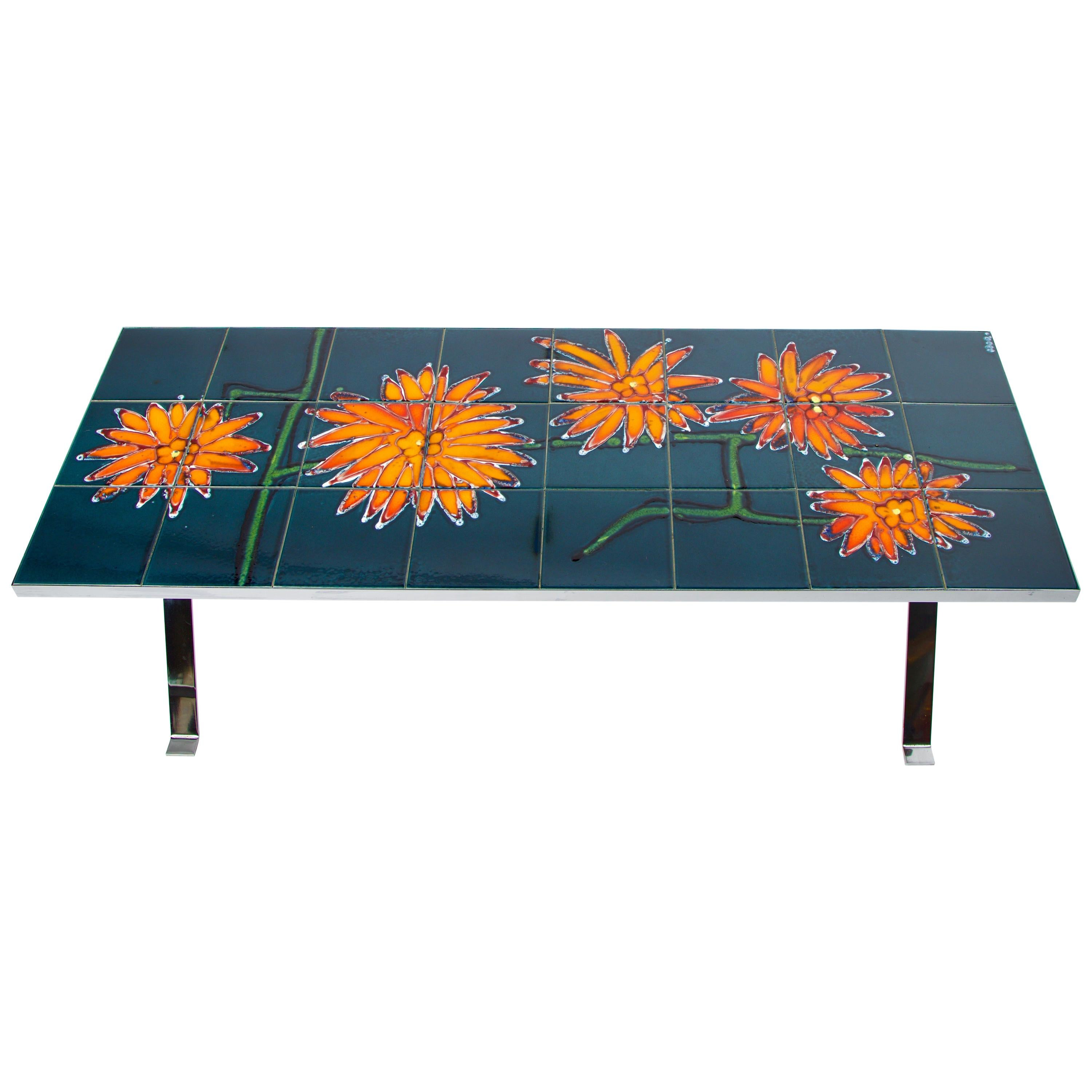 Mid-Century Modern Tile Top Coffee Table with Chrome Legs
