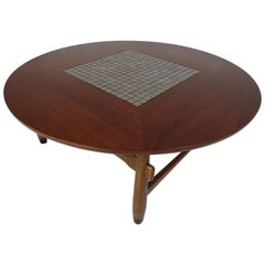 Mid-Century Modern Tile-Top Walnut Coffee Table by Lane