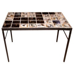 Mid-Century Modern Tile Topped Cocktail Table-Roger Capron Style