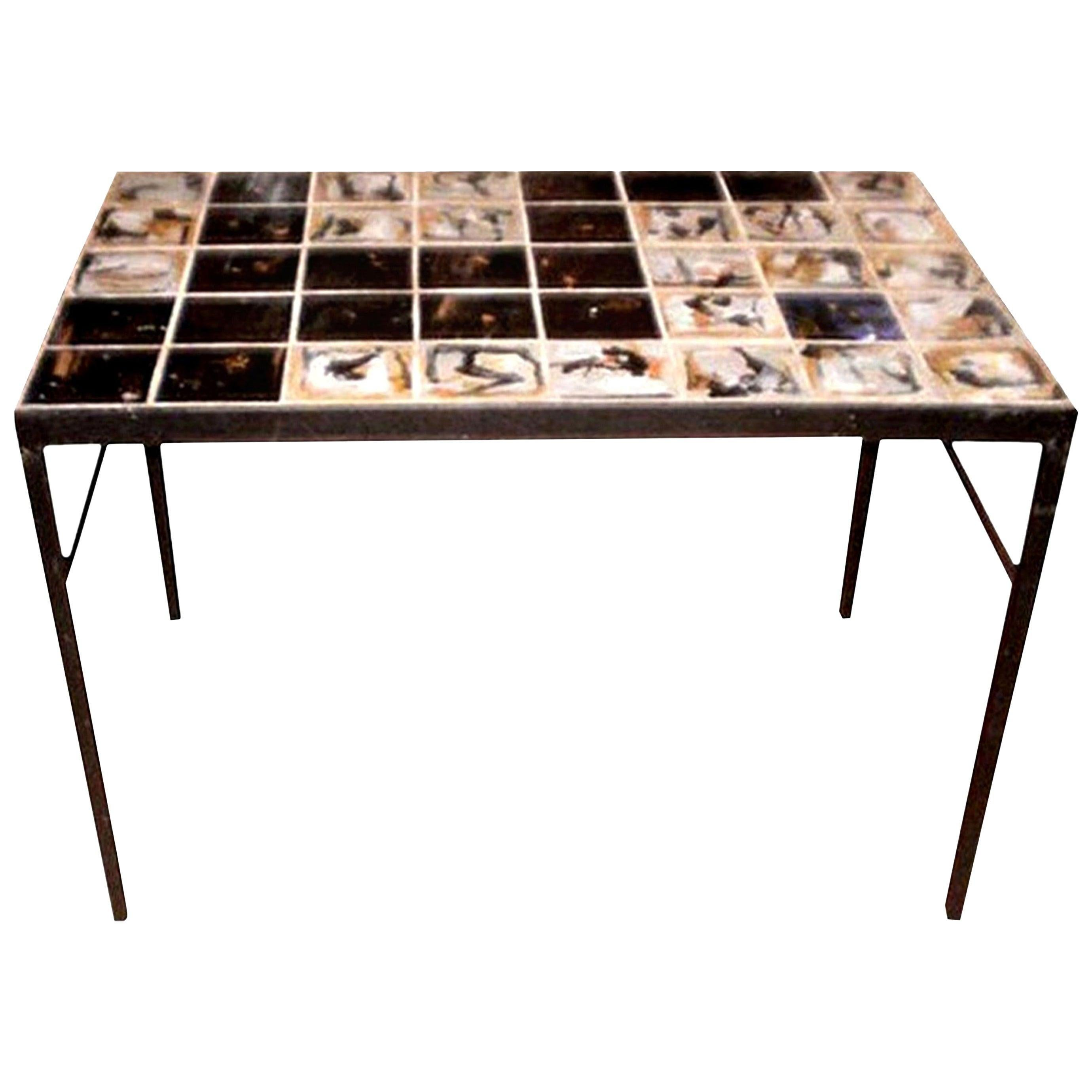 Mid-Century Modern Tile Topped Cocktail Table, Roger Capron Style