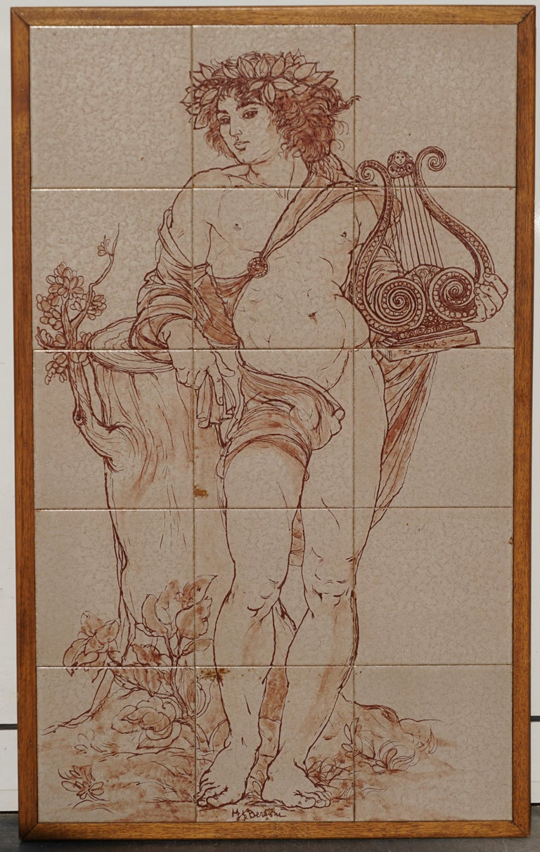 Italian Mid-Century Modern Tiled Wall Panels Plaques of Bacchus by Bertoni For Sale