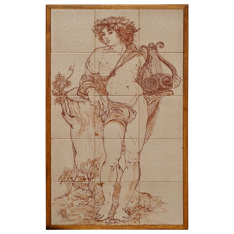 Mid-Century Modern Tiled Wall Panels Plaques of Bacchus by Bertoni For Sale