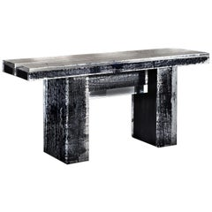 Mid-Century Modern Timothy Oulton Glacier Console Burnt Wood and Acrylic Lucite