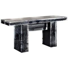 Mid-Century Modern Timothy Oulton Gletscher Konsole Verbrannte Holz und Acryl Lucite