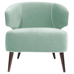 Mid-Century Modern Tippi Armchair Wood Cotton Velvet