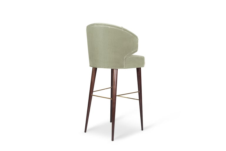 Contemporary Mid-Century Modern Tippi Bar Chair Walnut Wood Cotton Velvet For Sale