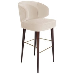 Mid-Century Modern Tippi Bar Chair Walnut Wood Cotton Velvet