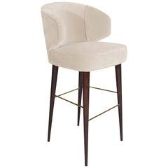 Mid-Century Modern Tippi Bar Chair Walnut Wood Cotton Velvet