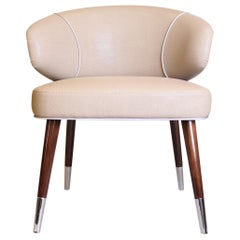 Mid-Century Modern Tippi Dining Chair Genuine Leather Walnut Wood Legs