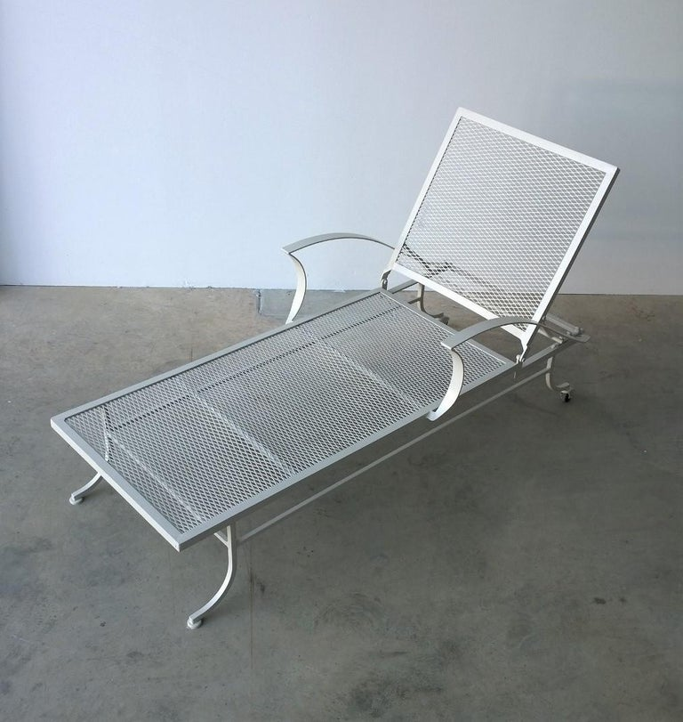 Bob Anderson Refinished Wrought Iron Chaise Lounge in Almond White For Sale 3