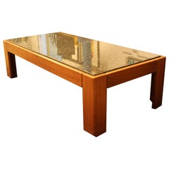 Mid-Century Modern Tobia Scarpa Square Wood and Marble Coffee Table 1960s Italy