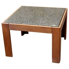 Mid-Century Modern Tobia Scarpa Square Wood & Marble Side End Table 1960s, Italy