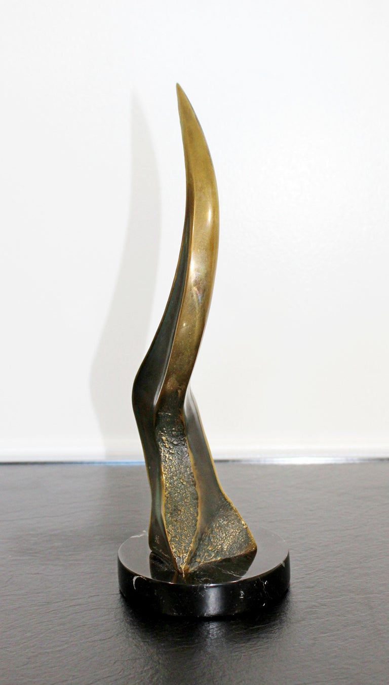 American Mid-Century Modern Tom Bennett Signed Bronze Marble Table Sculpture 1970s 69/100 For Sale
