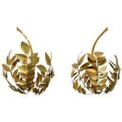 Mid-Century Modern Tommaso Barbi Brass Italian Pair of Sconces