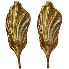 Mid-Century Modern Tommaso Barbi Brass Italian Pair of Sconces. 60s