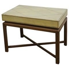Mid-Century Modern Tommi Parzinger Tooled Leather Top and Wood Frame Side Table