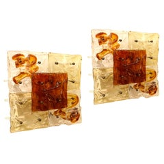 Mid-Century Modern Toni Zuccheri for Venini Murano Clear and Amber Sconces, Pair