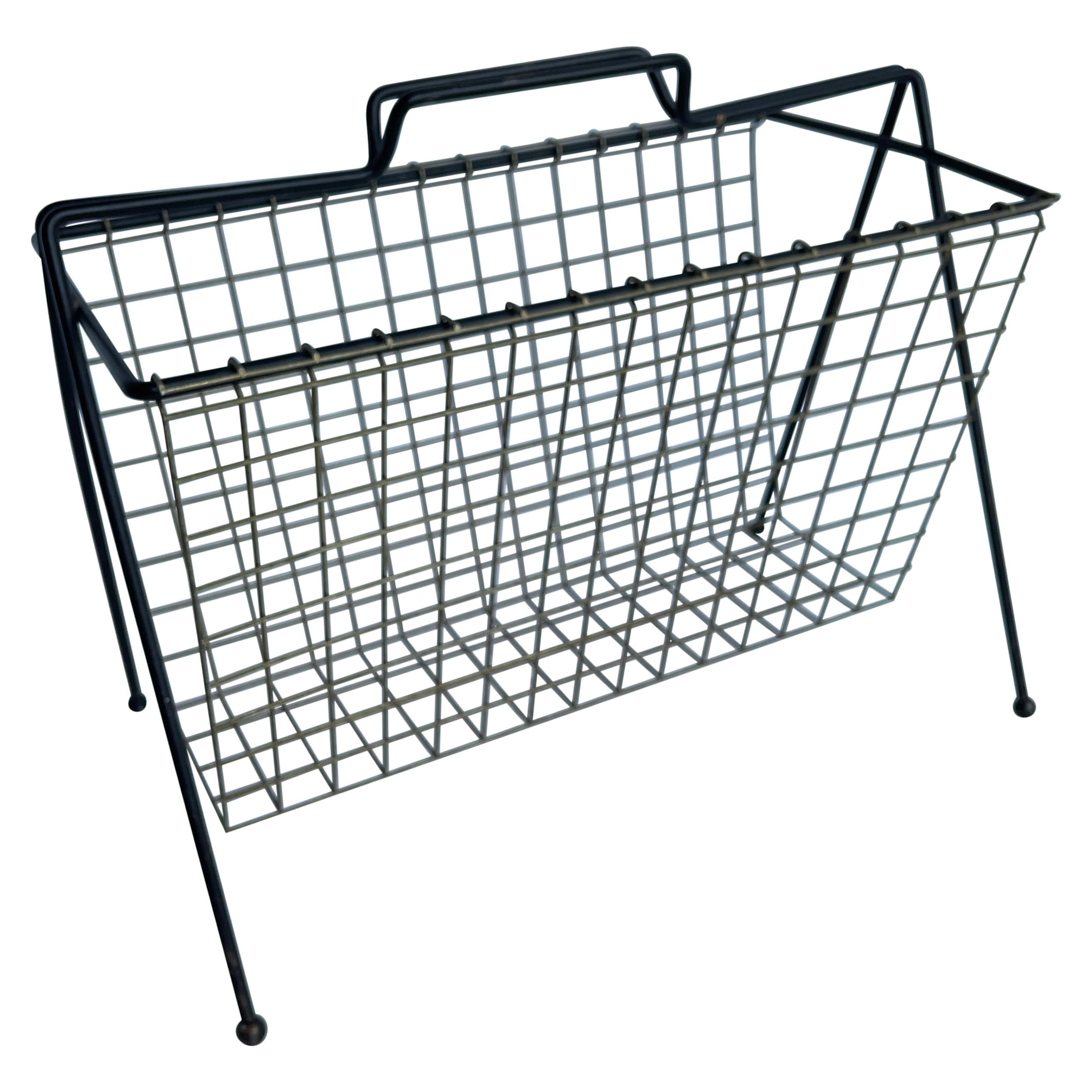 Mid-Century Modern Tony Paul Metal and Wire Magazine Rack with Ball Feet
