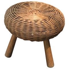 Mid-Century Modern Tony Paul Woven Rattan Wicker Round Footstool, 1950s