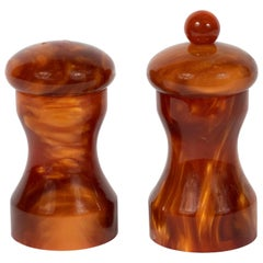 Mid-Century Modern Tortoise Bakelite Salt and Pepper Shaker Set by Au Bain Marie