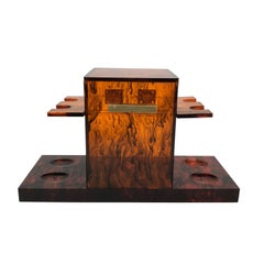 Mid-Century Modern Tortoiseshell Pipe Holder and Tabac Box in Lucite