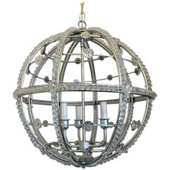 Mid-Century Modern Transitional Silver Leaf Sputnik Ball Chandelier Fixture