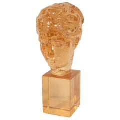 Mid-Century Modern Translucent Amber Resin Classical Bust by Dorothy Thorpe