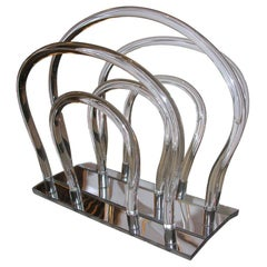 Mid-Century Modern Translucent Lucite Magazine Stand by Dorothy Thorpe