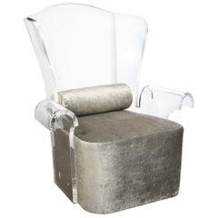 Mid-Century Modern Translucent Lucite Wing Armchair in Platinum Velvet
