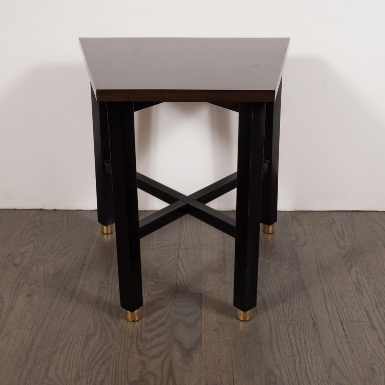 American Mid-Century Modern Trapezoidal Walnut Side Table with Brass Sabots by Dunbar For Sale