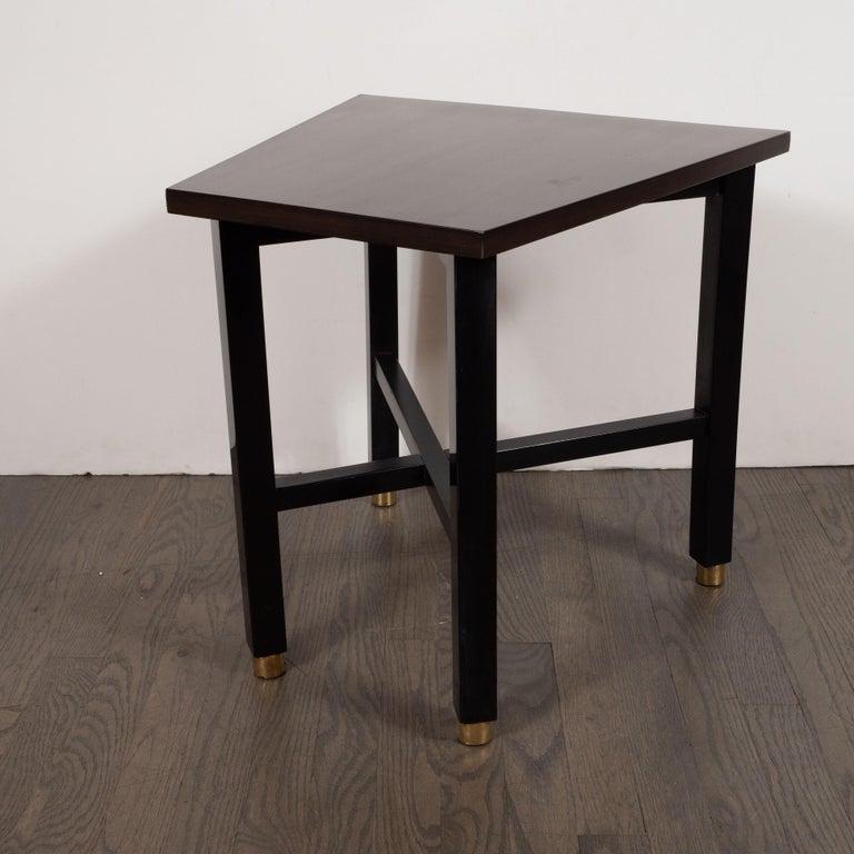 Ebonized Mid-Century Modern Trapezoidal Walnut Side Table with Brass Sabots by Dunbar For Sale