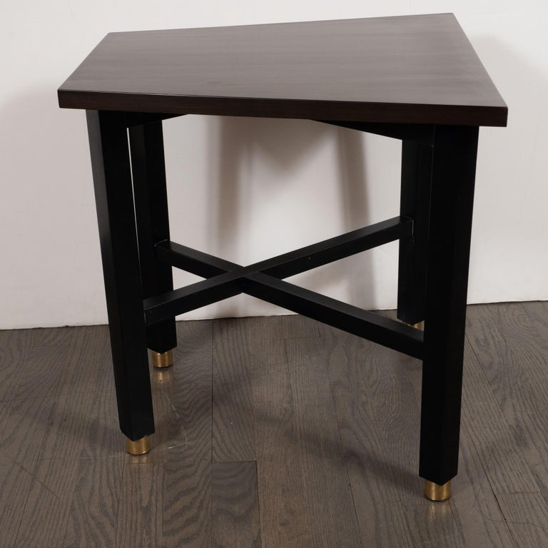 Mid-20th Century Mid-Century Modern Trapezoidal Walnut Side Table with Brass Sabots by Dunbar For Sale